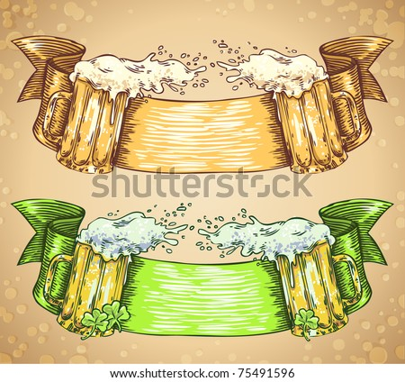vector doodle ribbon set with beer glasses - stock vector