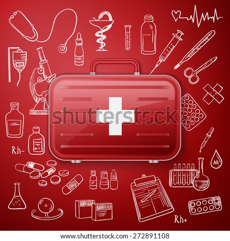Vector doodle seamless illustration Medicine icons with medicine chest - stock vector