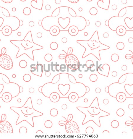 Vector doodle seamless pattern hearts, stars and cars.