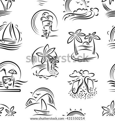 Vector doodle seamless pattern with tropical landscape and summer paradise - stock vector