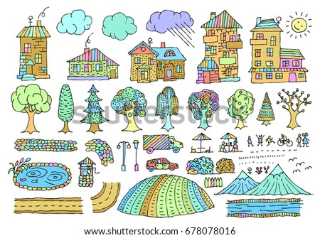 vector doodle set elements city landscape stock vector royalty free