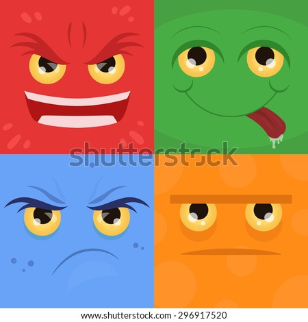 Vector doodle set of emotions: anger, resentment, joy, neutrality for your creativity - stock vector