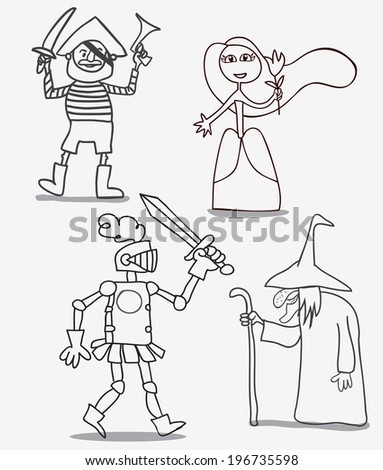 vector doodle set of fairytale characters - stock vector