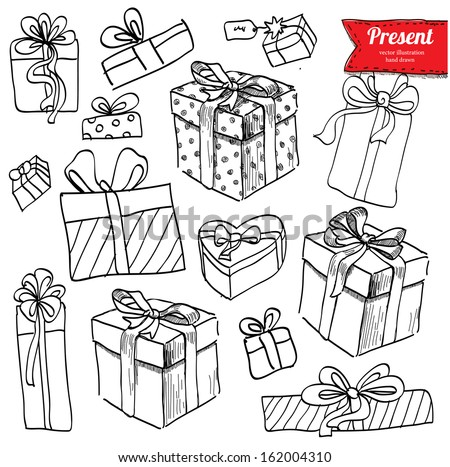 Vector doodle set, red ribbon, illustration with presents, gifts hand drawn on white background,  - stock vector