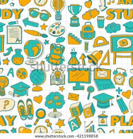 Vector doodle set with school items