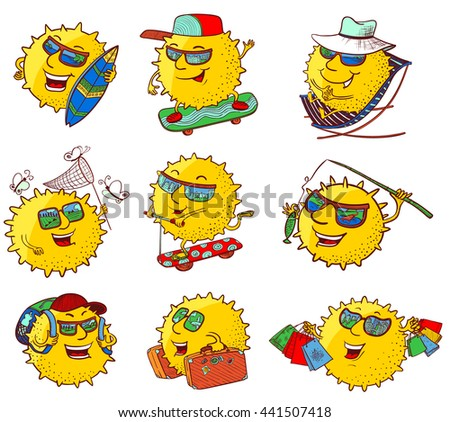 Vector doodle set with sun characters in summer activity - stock vector