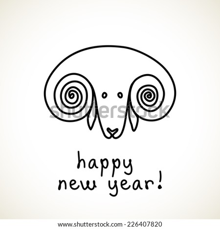 Vector doodle sheep. Happy new year 2015! Cute hand drawn childish invitation, greeting card. Holiday linear illustration for print, web - stock vector