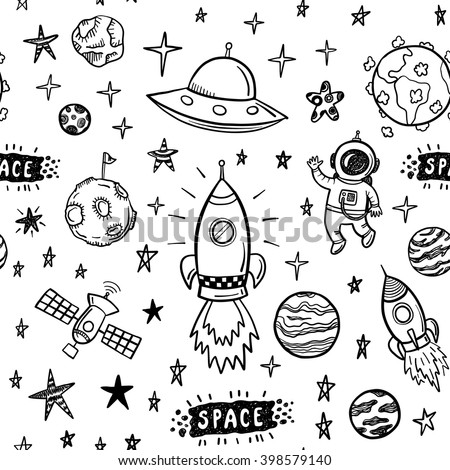 Vector doodle space seamless pattern - stock vector