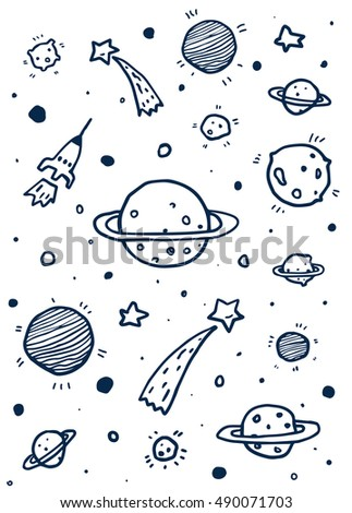 Vector doodle space with meteorites, comets, planets, space dust, rocket and stars. Background, illustration, graphic design