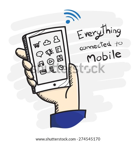 Vector : Doodle style Hand holding smart phone with app icon and Everything connected to mobile word, Online marketing concept - stock vector