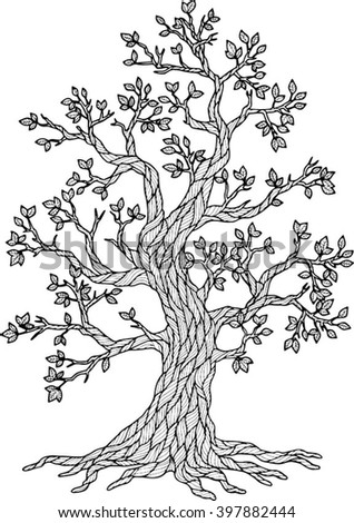 Vector Doodle Tree. Coloring Book for Adult Meditation