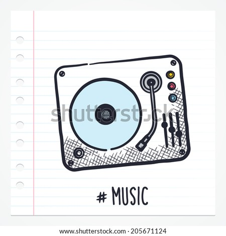 Vector doodle turntable icon illustration with color, drawn on lined note paper. - stock vector