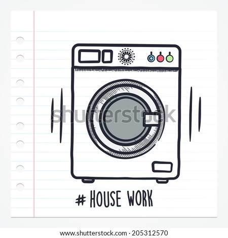 Vector doodle washing machine icon illustration with color drawn on