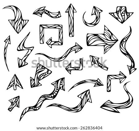 Vector doodles arrows. Black hand-drawn arrows isolated on white background.