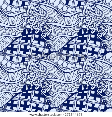 Vector doodles decorative ornamental contour background. Zentangle seamless pattern in blue tones.