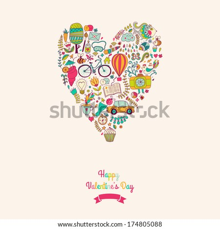 Vector doodles heart, valentine's day card. Kids, travel, enjoy life concept. Greeting card. Various travel vacation icons arranged in heart shape, childish layout. Romantic backdrop,  sweet design. - stock vector