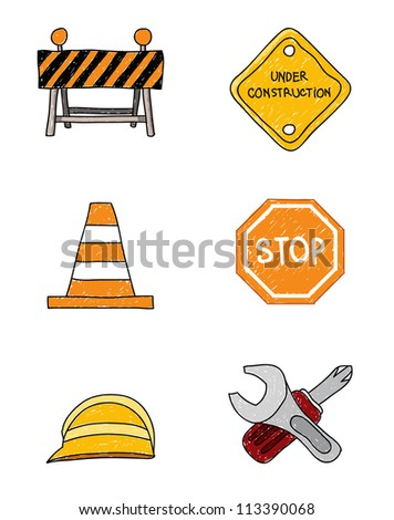 Vector doodles of construction theme signs.