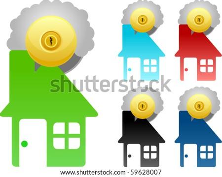 vector door handle series - house shape - stock vector