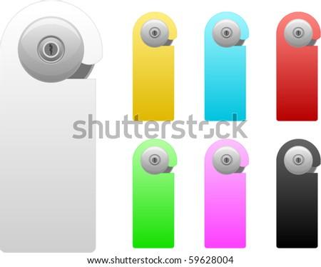 vector door handle set - stock vector