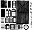 vector doors and windows silhouette set - stock vector