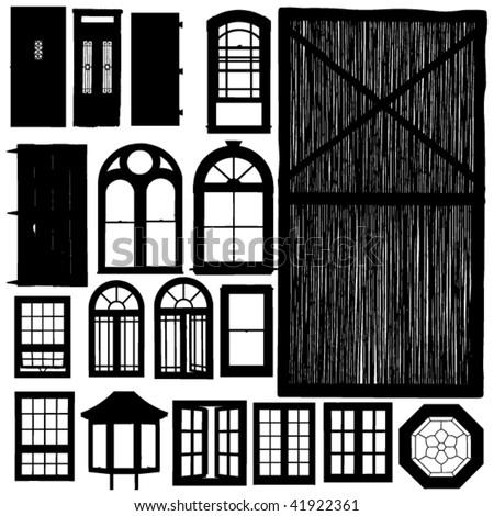 vector doors and windows silhouette set - stock vector