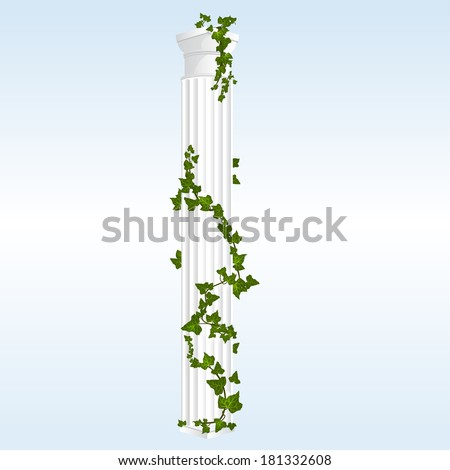 Vector Doric Column with Ivy leaves. White marble - stock vector