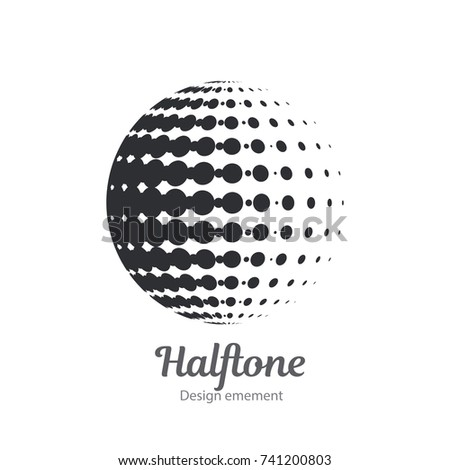 Vector dot logo halftone design element. Black and white dotted sphere business logotype