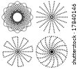 vector - Dot Spirals: collection of four black & white spirals created with dots. EPS8 organized in groups for easy editing. 