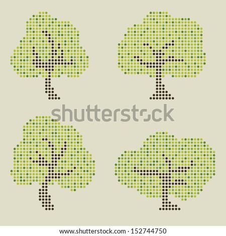 vector dot tree - stock vector