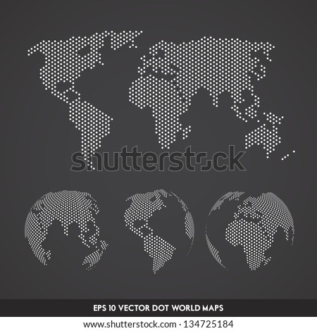 Vector Dot World Globe Set - stock vector