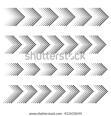 vector dotted arrow strip black symbols - stock vector