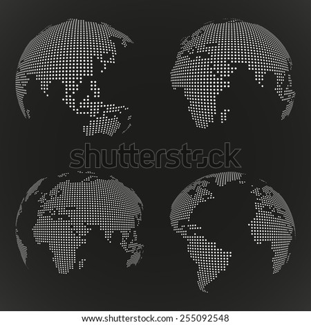 Vector dotted earth globes. Vector set - stock vector