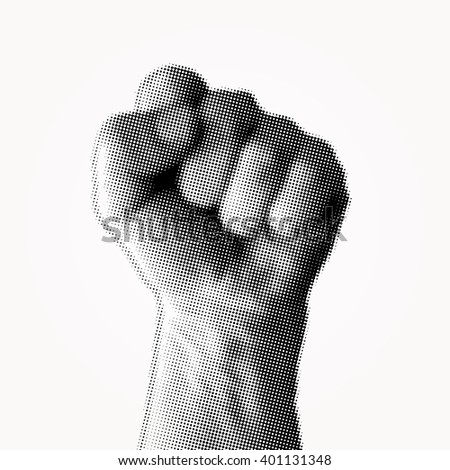 vector dotted halftone raster fist - stock vector