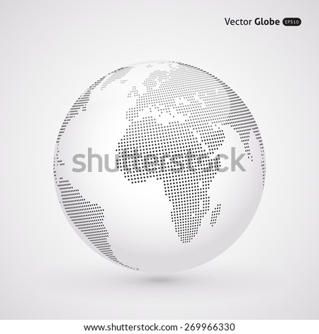 Vector dotted light globe, Central views of Africa - stock vector