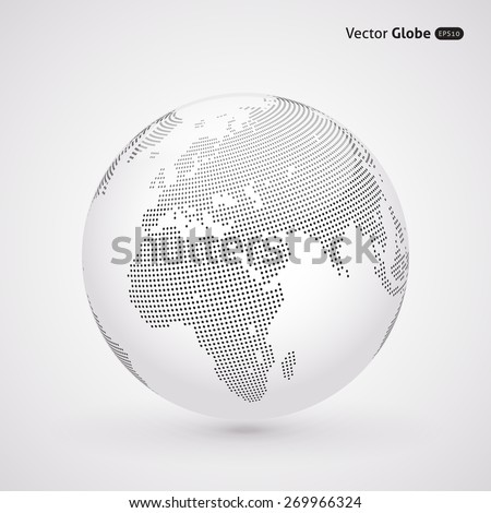 Vector dotted light globe, view on Europe and Africa - stock vector