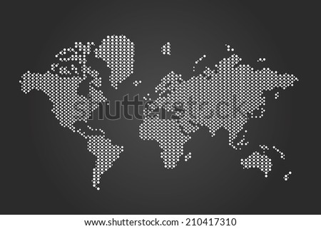 Vector Dotted World Map - stock vector