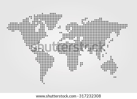 Vector dotted world map. - stock vector