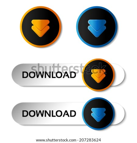 Vector download buttons with arrows - labels, stiskers on the white background