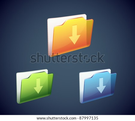 Vector download folder shining icon with color variation - stock vector