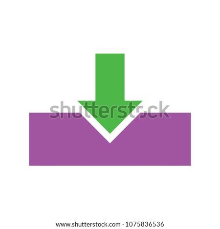 Vector Download Symbol App Down Load Stockvector 1075836536
