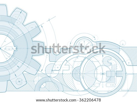 Vector draft background with a gear element. Can be easily colored and used in your design. - stock vector
