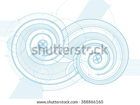 Vector draft background with double twirls. Can be easily colored and used in your design. - stock vector