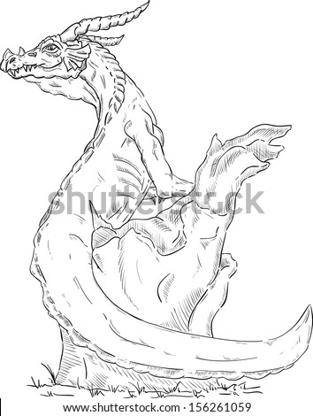 Vector dragon on tree stump isolated stock vector 156261059 vector dragon on a tree stump isolated on background ccuart Images