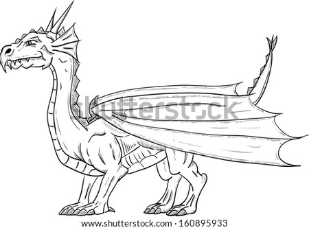 vector - dragon with wings , isolated on background