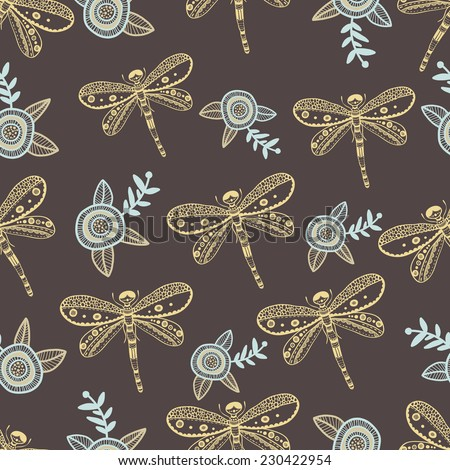 Vector dragonfly and flowers nature seamless pattern. Hand drawing colorful illustration - stock vector