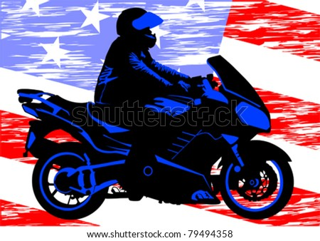 Vector drawing a motorcycle on road - stock vector