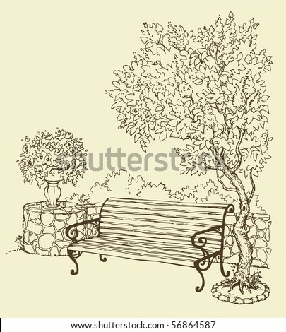 Vector drawing. A quiet romantic corner of the park with a bench under a blooming lilac bush - stock vector