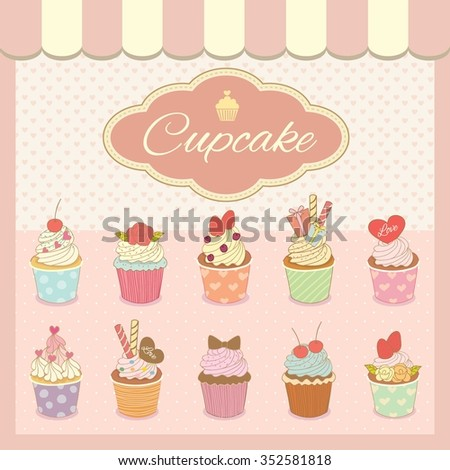 Vector drawing bakery cafe.The cupcakes menu on showcase and decorate with awning.Vintage theme and pastel pink color tone.