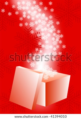 Vector drawing boxes with gifts. Snowflakes on a red background