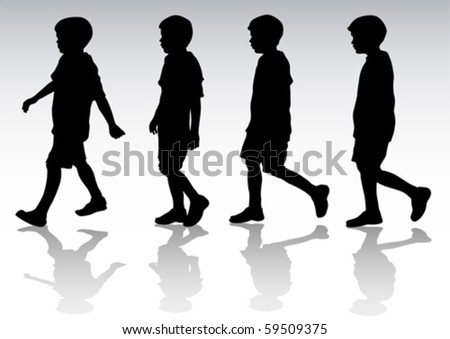 Vector drawing boy in motion. Silhouette on white background - stock vector